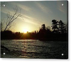 Acrylic Print featuring the photograph Sunrise Over Mississippi River by Kent Lorentzen