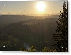 Sunrise Over Mount Hood And Sandy River Acrylic Print by David Gn