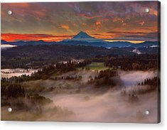 Sunrise Over Mount Hood And Sandy River Valley Acrylic Print by David Gn