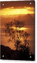 Sunrise Over Mount Nebo In Jordan Acrylic Print by Richard Nowitz