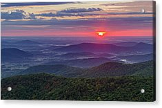 Acrylic Print featuring the photograph Sunrise Over The Blue Ridge by Lori Coleman