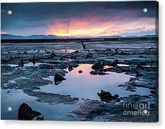 Sunrise Over The Bronze Age Sunken Forest At Borth On The West Wales Coast Uk Acrylic Print