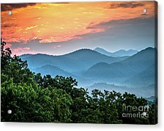 Acrylic Print featuring the photograph Sunrise Over The Smoky's by Douglas Stucky