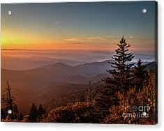 Acrylic Print featuring the photograph Sunrise Over The Smoky's V by Douglas Stucky