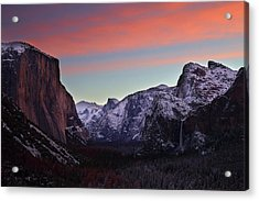 Acrylic Print featuring the photograph Sunrise Over Yosemite Valley In Winter by Jetson Nguyen