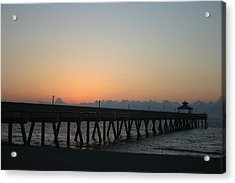 Sunrise Pier Acrylic Print by Dennis Curry