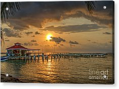 Sunrise Pier Over Water Acrylic Print