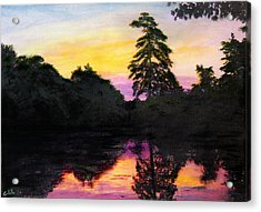 Acrylic Print featuring the painting Sunrise Pond Maryland Landscape Original Fine Art Painting by G Linsenmayer