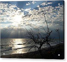 Sunrise Prayer On The Beach Acrylic Print by Allan  Hughes