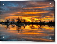 Sunrise Reflection In The River Acrylic Print