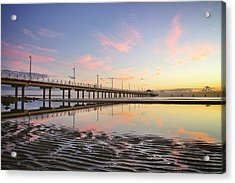 Sunrise Reflections At The Shorncliffe Pier Acrylic Print