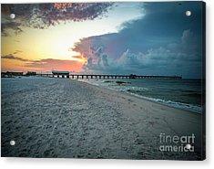 Sunrise Seascape Gulf Shores Al Pier 064a Acrylic Print