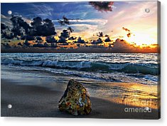 Sunrise Seascape Wisdom Beach Florida C3 Acrylic Print by Ricardos Creations