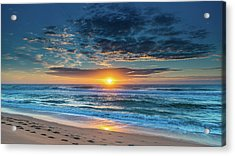 Sunrise Seascape With Footprints In The Sand Acrylic Print
