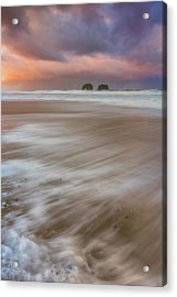 Sunrise Storm At Twin Rocks Acrylic Print by Darren White