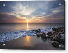 Sunrise Surf Acrylic Print by Debra and Dave Vanderlaan