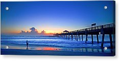 Sunrise Surfer At Pier - 4953 Acrylic Print