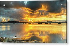 Sunrise Waterscape With Reflections Acrylic Print
