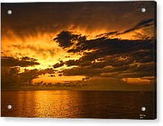 Sunrise With A Rain Shower Acrylic Print by Bill Perry