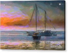 Sunrise With Boats Acrylic Print