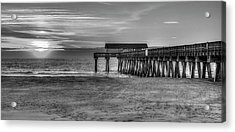 Acrylic Print featuring the photograph Suns Up Tybee Pier Bw Tybee Island Georgia Art by Reid Callaway