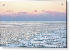 Sunset Across The Frozen Lake Acrylic Print