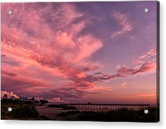 Sunset Afterglow At The Pier Acrylic Print by Frank J Benz