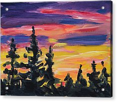 Acrylic Print featuring the painting Sunset Alaska by Yulia Kazansky