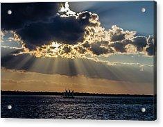 Sunset And A Three Masted Schooner Acrylic Print by Menachem Ganon