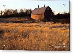 Sunset And Barn Acrylic Print
