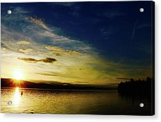 Sunset And Buoy Over Vancouver Island Acrylic Print