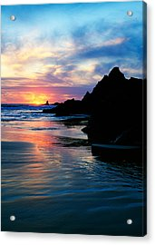 Sunset And Clouds Over Crescent Beach Acrylic Print by Panoramic Images