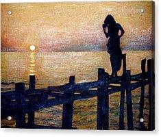 Sunset And Girl Acrylic Print