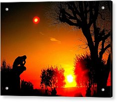 Sunset And Moon In France Acrylic Print