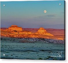 Sunset And Moon-rise Over Pawnee Buttes Acrylic Print
