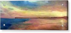Sunset And Pier Acrylic Print