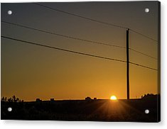 Acrylic Print featuring the photograph Sunset And Telephone Post by Rob Huntley