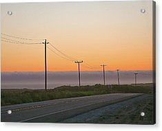 Sunset And Telephone Wires Acrylic Print by Liz Santie