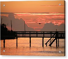 Acrylic Print featuring the photograph Sunset And The Fishing Dock by Rosalie Scanlon