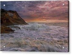 Sunset And Waves At Cape Kiwanda Acrylic Print by David Gn