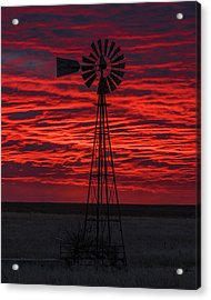 Acrylic Print featuring the photograph Sunset And Windmill 02 by Rob Graham