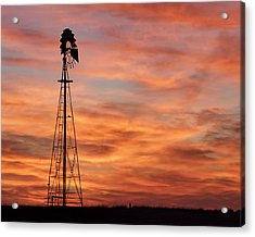 Sunset And Windmill 04 Acrylic Print by Rob Graham