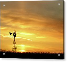 Acrylic Print featuring the photograph Sunset And Windmill 11 by Rob Graham