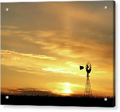 Acrylic Print featuring the photograph Sunset And Windmill 13 by Rob Graham