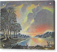Sunset Angler Acrylic Print