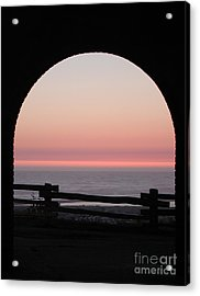 Sunset Arch With Fog Bank Acrylic Print