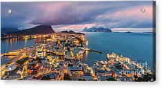 Sunset At Alesund, Norway Acrylic Print by Henk Meijer Photography