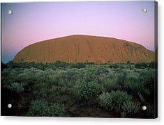 Sunset At Ayre's Rock Acrylic Print by Gary Wonning