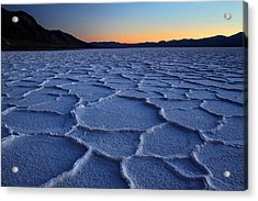 Sunset At Badwater In Death Valley Acrylic Print by Pierre Leclerc Photography