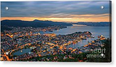 Sunset At Bergen As Seen From Mount Floyen, Norway. Acrylic Print by Henk Meijer Photography